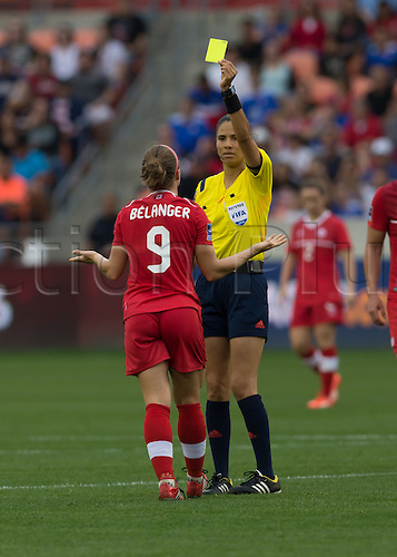 21.02.2016. Houston, TX, USA.  Canada Defender Josée Belanger (9)  gets a yellow card during the Women's Olympic qualifying soccer final match between Canada and USA at BBVA Compass Stadium in Houston, Texas.