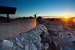 Interpretive signs at tourist overlook at sunrise, Keys View, Joshua Tree National Park, California