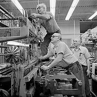 Loom fixers at Arbeka Webbing, Pawtucket-Central Falls, RI 1974
