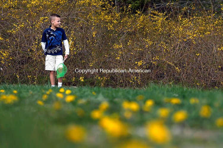 Woodbury, CT- 04 May 2015-050415CM03-  Andrew Grivner 8, a student at Mitchell Elementary School looks for farm friendly bugs outside the school in Woodbury on Monday.  The pair were among a group of students who were learning about farming from Diane Parmelee, education coordinator at Flanders Nature Center.  The six week course will cover baby chicks, bunnies, making butter, hands on wool craft, poultry management, goat-kids, bee pollinators and planting.    Christopher Massa Republican-American