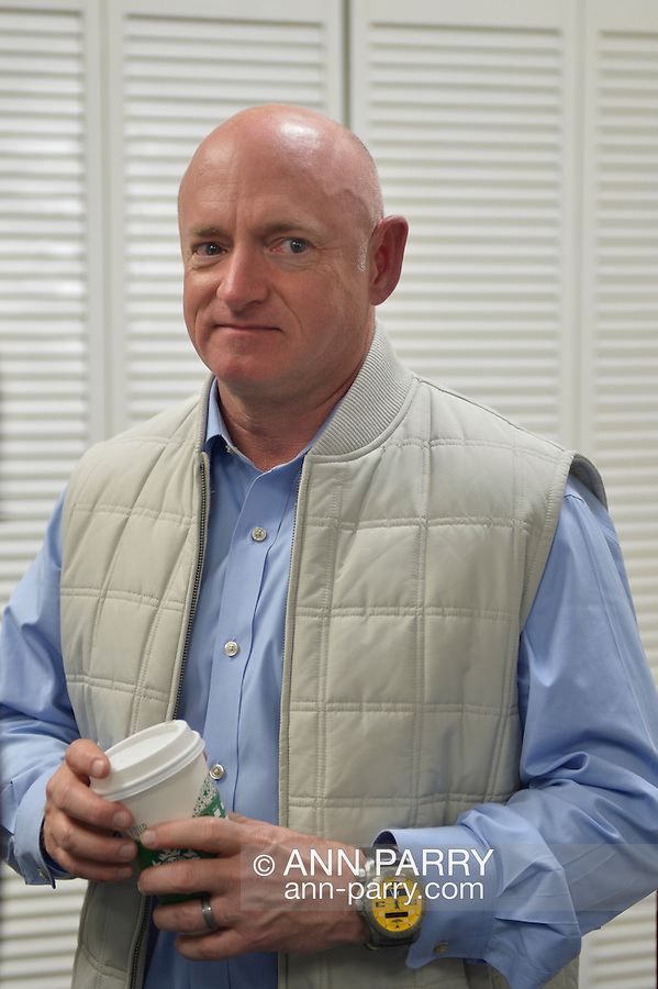 Garden City, New York, USA. April 17, 2016. MARK KELLY, former NASA astronaut, speaks about the importance of GOTV, Getting Out The Vote for Hillary Clinton - including because of Clinton's strong position on stricter gun control legislation - at the Canvass Kickoff at the Nassau County Democratic Office in Garden City, a campaign Official Event. Kelly's wife G. Giffords survived an assassination attempt near Tuscon, Arizona, during her first 'Congress on Your Corner' event in January 2011. Kelly commanded the final flight of the Space Shuttle Endeavor in May 2011.
