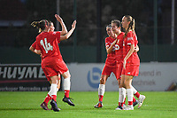 20190823 – OOSTAKKER, BELGIUM : Standard's players celebrating their opening goal  pictured during a women soccer game between AA Gent Ladies and Standard Femina de Liege on the first matchday of the Belgian Superleague season 2019-2020 , the Belgian women's football  top division , friday 23 th August 2019 at the PGB Stadium Oostakker in Gent  , Belgium  .  PHOTO SPORTPIX.BE | DIRK VUYLSTEKE