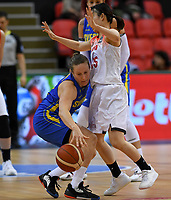 20200206 – OOSTENDE ,  BELGIUM : Swedish Elin Eldebrink (9) pictured in a duel with Japanese Nako Motohashi (15)during a basketball game between the national teams of Japan and Sweden on the first matchday of the FIBA Women's Qualifying Tournament 2020 , on Thursday 6  th February 2020 at the Versluys Dome in Oostende  , Belgium  .  PHOTO SPORTPIX.BE | DAVID CATRY
