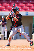 Lansing Lugnuts second baseman Christian Lopes #14 bats during a game against the Cedar Rapids Kernels at Veterans Memorial Stadium on April 30, 2013 in Cedar Rapids, Iowa. (Brace Hemmelgarn/Four Seam Images)