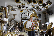 Vince Simonetti, owner of the Tuba Exchange in Durham, NC.