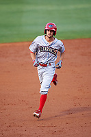 Clearwater Threshers right fielder Zachary Coppola (19) running the bases during a game against the Bradenton Marauders on April 18, 2017 at LECOM Park in Bradenton, Florida.  Clearwater defeated Bradenton 4-2.  (Mike Janes/Four Seam Images)