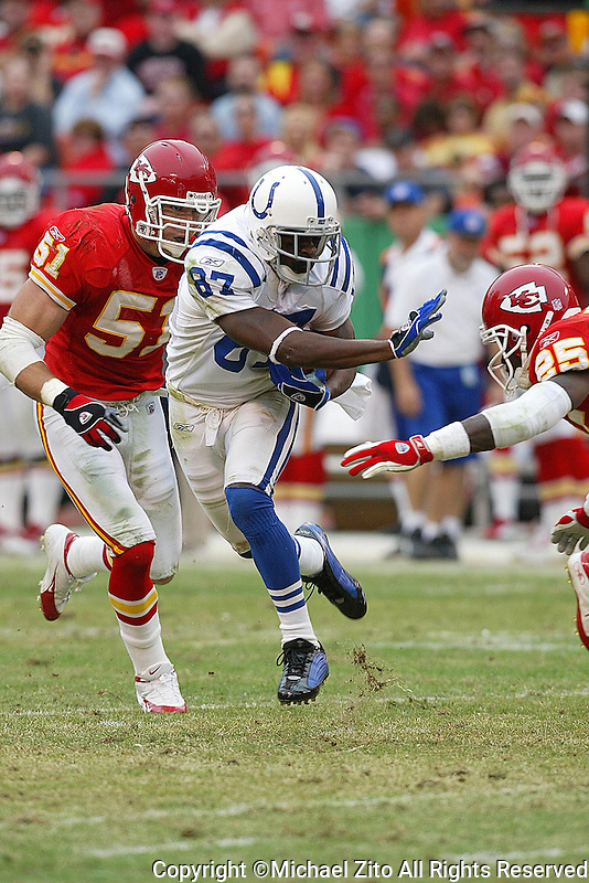 Reggie Wayne In an NFL game played at Arrowhead Stadium where the Kansas City Chiefs Defeated the Indianapolis Colts 45-35