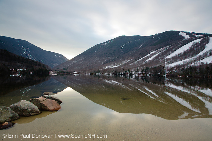 Franconia Notch State Park - Relection of mountains is Echo Lake during the late autumn months in the White Mountains, New Hampshire USA.