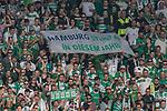 12.05.2018, OPEL Arena, Mainz, GER, 1.FBL, 1. FSV Mainz 05 vs SV Werder Bremen<br /> <br /> im Bild<br /> Werder Bremen Fans feiern den Abstieg von Hamburger SV / HSV in die 2. Liga mit Bannern, Spruchb&auml;ndern, Applaus, Jubel, Pyrotechnik, Gesang, <br /> &quot;Hamburg steigt ab in diesem Jahr!&quot;, <br /> <br /> Foto &copy; nordphoto / Ewert