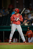 Peoria Chiefs shortstop Rayder Ascanio (18) at bat during a game against the Bowling Green Hot Rods on September 15, 2018 at Bowling Green Ballpark in Bowling Green, Kentucky.  Bowling Green defeated Peoria 6-1.  (Mike Janes/Four Seam Images)