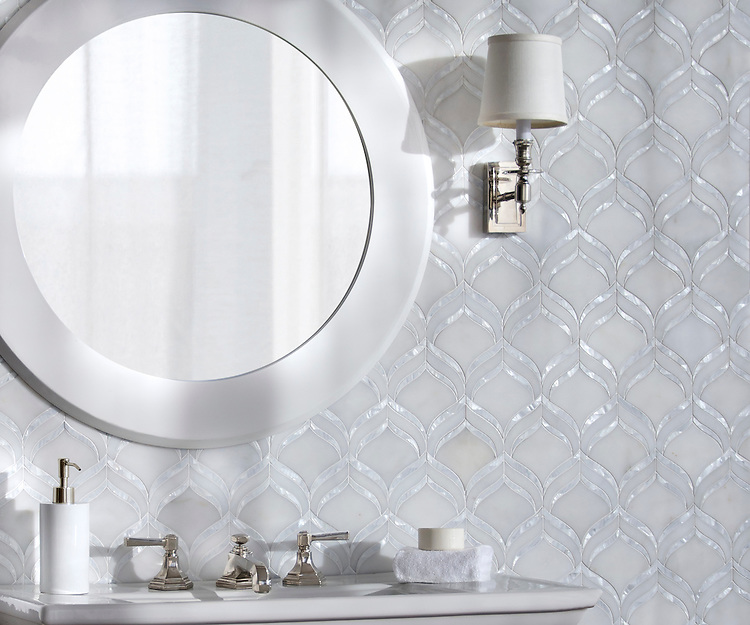Adonis, a waterjet mosaic shown in honed Afyon White and Shell, is part of the Aurora® collection by Sara Baldwin for New Ravenna.