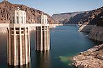 Hoover Dam Arizona Powerhouse intake towers in Lake Mead during drought drawdown