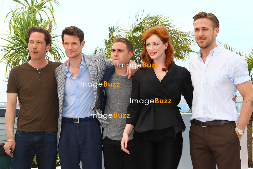 "CPE/ French actor Reda Kateb, British actor Matt Smith, British actor Iain De Caestecker, US actress Christina Hendricks and Canadian actor Ryan Gosling pose during a photocall for the film ""Lost River"" at the 67th edition of the Cannes Film Festival in Cannes, southern France, on May 20, 2014"