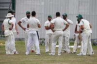 Harold Wood players huddle during Harold Wood CC vs Shenfield CC (batting), Essex Cricket League Cricket at Harold Wood Park on 25th July 2020