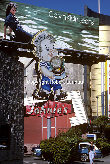 Calvin Klein billboard with Johnie's Fat Boy, Wilshire Blvd, 1980