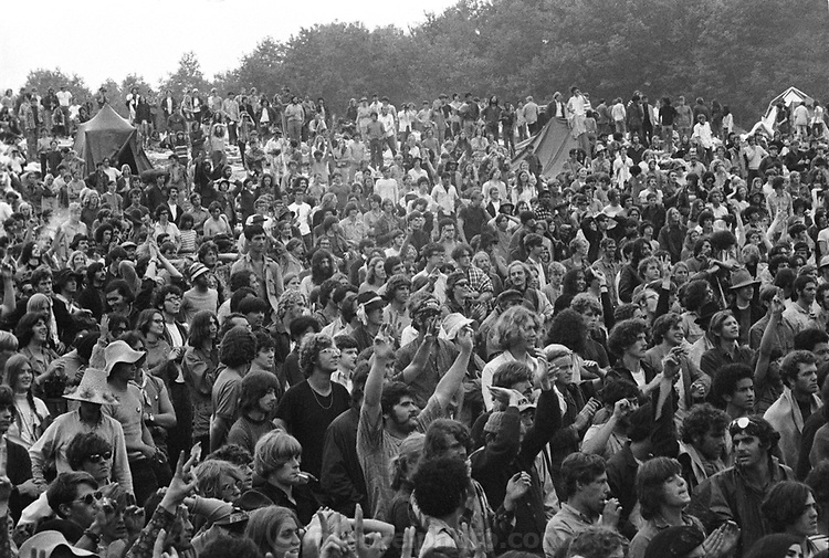 Rock Festival fans at the Woodstock rock festival at Max Yasgur's 600 acre farm, in the rural town of Bethel, NY, on the weekend of August 16-18, 1969..