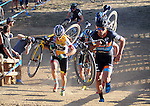October 17, 2015 - Boulder, Colorado, U.S. - Men's elite cyclist, Daniel Summerhill #23, leads the way up the run-up during the U.S. Open of Cyclocross, Valmont Bike Park, Boulder, Colorado.