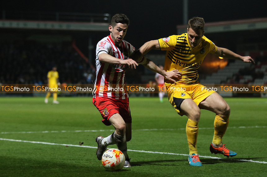 Tom Pett of Stevenage and Lee Brown of Bristol Rovers during Stevenage vs Bristol Rovers, Sky Bet League 2 Football at the Lamex Stadium on 19th April 2016