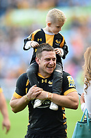 Jimmy Gopperth of Wasps with his son after the match. Aviva Premiership semi final, between Wasps and Leicester Tigers on May 20, 2017 at the Ricoh Arena in Coventry, England. Photo by: Patrick Khachfe / JMP