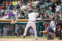 Grant Green (7) of the Salt Lake Bees at bat against the Reno Aces in Pacific Coast League action at Smith's Ballpark on May 10, 2015 in Salt Lake City, Utah.  Salt Lake defeated Reno 9-2 in Game One of the double-header. (Stephen Smith/Four Seam Images)