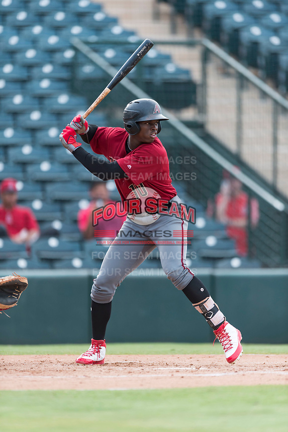 AZL Diamondbacks center fielder Kristian Robinson (10) at bat during an Arizona League game against the AZL Angels at Tempe Diablo Stadium on July 16, 2018 in Tempe, Arizona. The AZL Diamondbacks defeated the AZL Angels by a score of 4-3. (Zachary Lucy/Four Seam Images)