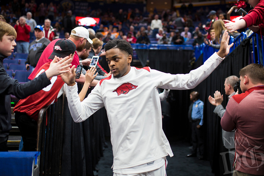 NWA Democrat-Gazette/CHARLIE KAIJO Arkansas Razorbacks guard Daryl Macon (4) enters the court during the Southeastern Conference Men's Basketball Tournament, Thursday, March 8, 2018 at Scottrade Center in St. Louis, Mo.