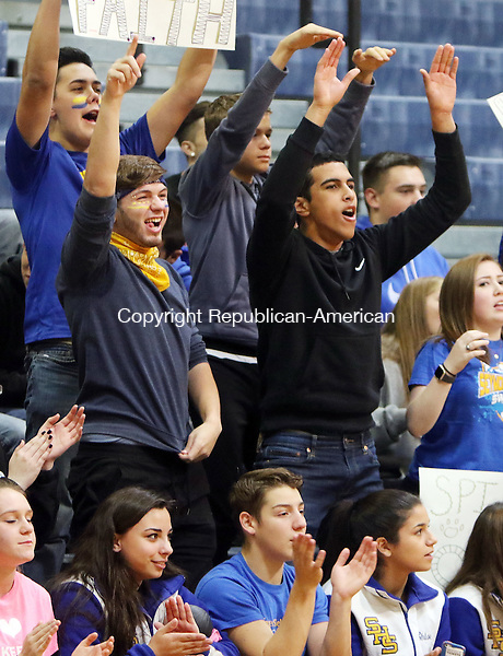 EAST HAVEN CT. 19 November 2016-111916SV08-Seymour High students and fans cheer their team on against Torrington High during the CIAC Class M Volleyball championship game at East Haven High in East Haven Saturday. Seymour won 3-0.<br /> Steven Valenti Republican-American