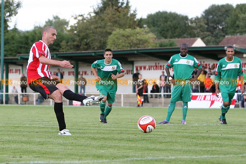 Jonthan Hunt of Hornchurch takes a penalty which is saved by Hendon goalkeeper Berkley Laurencin - AFC Hornchurch vs Hendon - Ryman League Premier Division Football at The Stadium - 18/09/10 - MANDATORY CREDIT: Gavin Ellis/TGSPHOTO - Self billing applies where appropriate - Tel: 0845 094 6026