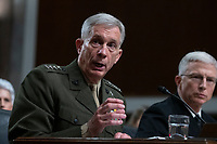 General Thomas D. Waldhauser, Commander, United States Africa Command testifies before the Senate Armed Services Committee on Capitol Hill in Washington, DC on February 7, 2019. Credit: Alex Edelman / CNP/AdMedia
