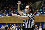17 December 2015: Referee Cameron Inouye. The Duke University Blue Devils hosted the Liberty University Flames at Cameron Indoor Stadium in Durham, North Carolina in a 2015-16 NCAA Division I Women's Basketball game. Duke won the game 79-41.