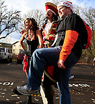 12/04/10-- Dan Blanchette of Beaverton strikes a pose with the Captain Morgan crew before the Civil War game at Reser Stadium in Corvallis, Or..Photo by Jaime Valdez......