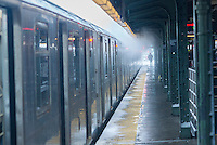 A Flushing Line train at the Queensboro Plaza station in New York during the city's first major winter storm of the season on Thursday, February 9, 2017. Meteorologists are forecasting between 8 and 14 inches of snow in the New York City region. The Metropolitan Transportation Authority has had no major delays and the trains continue to run.  (© Richard B. Levine)