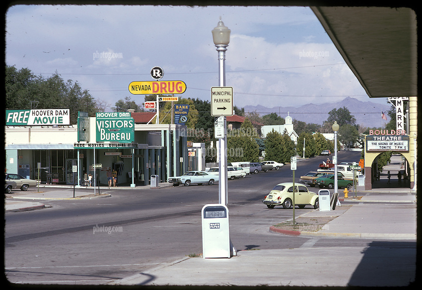 Stopping in Town, Boulder City, Nevada. Nikon Ftn Camera, 125th f/8 1/3 105mm f/2.5 lens, Kodachrome II