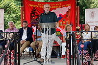 Pictured: Labour leader Jeremy Corbyn addresses supporters. Sunday 01 July 2018<br /> Re: Labour Party leader Jeremy Corbyn at the celebration for the 70 years since the National Health Service (NHS) was founded by Aneurin Bevan, Bedwellty Park, Tredegar, Wales, UK.
