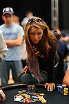 PS Team Pro Sandra Naujoks went all in vs. Vivek Rajkumar.  He called and she got up from her seat thinking she had lost the hand.  Instead she won and crippled him..