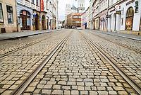 Cobble stone street with tram rails, Olomouc, Czech Republic