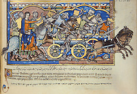 "Deborah, a Prophetess: Following Ehud's death, the sins of the Israelites again displease the Lord. The people are made to suffer under the rule of Jabin, king of the Canaanites, for twenty years. Finally, the prophetess Deborah summons Barak to lead an attack against the Canaanite army. Deborah, riding side-saddle on a dappled charger, commands Barak and the Israelite forces. The exhausted and terror-stricken enemy offers no resistance even as its king receives his death blow. (Judges 4:8ñ16). Excerpt of the first edition of the ""Crusader Bible"", 13th century manuscript kept in the Pierpont Morgan Library in New York, on natural parchment made of animal skin published by Scriptorium SL in Valencia, Spain. © Scriptorium / Manuel Cohen"