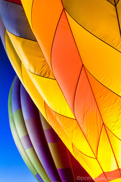 close-up of two hot air balloons
