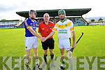 Referee John Sexton with captains Maurice Corridan Lixnaw and Seanie Murnane Kilmoyley at the County Senior Hurling Final at Austin Stack Park Tralee on Sunday.