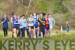 Eventual winner Bridget Dennehy Colaiste na Sceilge takes to the lead ahead of Niamh Clifford ISK, Louise O'Connor Mercy Mounthawk and Roisin O'Connor Dingle at the start of the Senior girls race in the Vocational Schools Cross Country championships in Killarney on Wednesday
