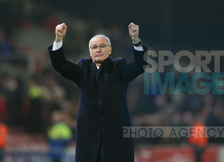 Claudio Ranieri manager of Leicester City salutes the draw with the fans during the English Premier League match at the Bet 365 Stadium, Stoke on Trent. Picture date: December 17th, 2016. Pic Simon Bellis/Sportimage