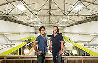 YouTube founders Steve Chen and Chad Hurley pictures: executive portrait photography of Chad Hurley and Steven Chen at Avos Systems , by San Francisco corporate photographer Eric Millette