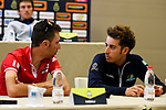 Vincenzo Nibali (ITA) Bahrain-Merida and Fabio Aru (ITA)Astana at the top riders press conference on the eve of the race of the two seas, 52nd Tirreno-Adriatico by NamedSport running from the 8th to 14th March, Italy. 7th March 2017.<br /> Picture: La Presse/Fabio Ferrari | Cyclefile<br /> <br /> <br /> All photos usage must carry mandatory copyright credit (&copy; Cyclefile | La Presse)