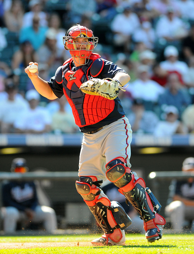25 AUGUST 2010: Atlanta Braves catcher Brian McCann (16) during a regular season Major League Baseball game between the Colorado Rockies and the Atlanta Braves at Coors Field in Denver, Colorado. The Rockies won 12-10 after being down 10-1 in the 3rd inning.   *****For Editorial Use Only*****