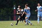 ELON, NC - AUGUST 25: Providence's Danny Griffin (10) and North Carolina's Jack Skahan (8). The University of North Carolina Tar Heels hosted the Providence College Friars on August 25, 2017 at Rudd Field in Elon, NC in a Division I college soccer game. UNC won the game 4-2.