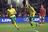 James Maddison of Norwich City (L) celebrates getting the only goal of the game during Bristol City vs Norwich City, Sky Bet EFL Championship Football at Ashton Gate on 13th January 2018