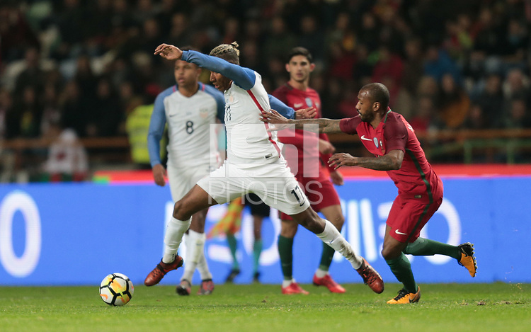 Leiria, Portugal - Tuesday November 14, 2017: Juan Agudelo during an International friendly match between the United States (USA) and Portugal (POR) at Estádio Dr. Magalhães Pessoa.
