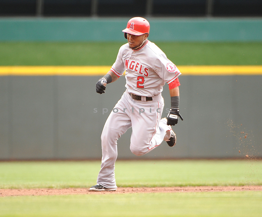 Los Angeles Angels Erick Aybar (2) in action during a game against the Cincinnati Reds on April 4, 2013 at Great American Ballpark in Cincinnati, OH. The Reds beat the Angels 5-4.