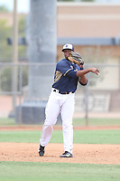 Carlos Sosa (72) of the AZL Padres throws to first base during a game against the AZL Rangers at the San Diego Padres Spring Training Complex on July 4, 2015 in Peoria, Arizona. Padres defeated the Rangers, 9-2. (Larry Goren/Four Seam Images)