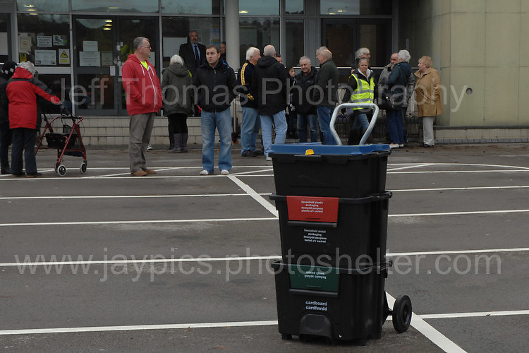 Residents at the Civic Centre in Ebbw Vale in protest of the Borough of Blaenau Gwent's new Trolibocs recycling system. The new Trolibocs system boxes<br /> <br /> <br /> Jeff Thomas Photography -  www.jaypics.photoshelter.com - <br /> e-mail swansea1001@hotmail.co.uk -<br /> Mob: 07837 386244 -